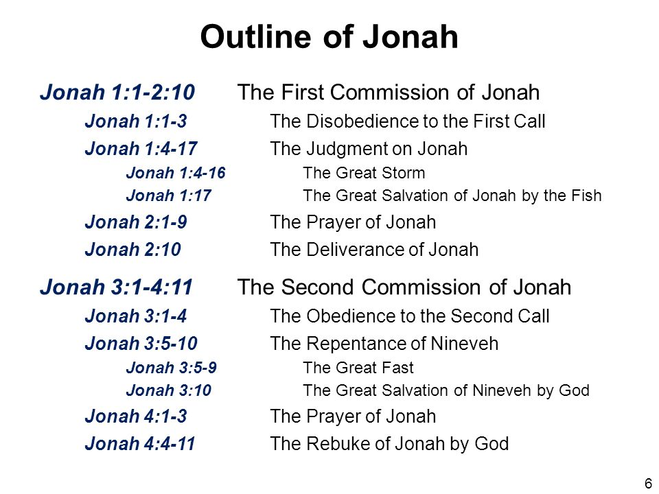 Outline of Jonah Jonah 1:1-2:10 The First Commission of Jonah