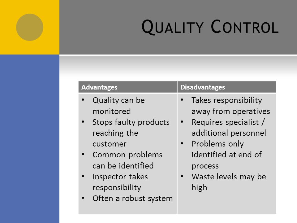 advantages of quality control