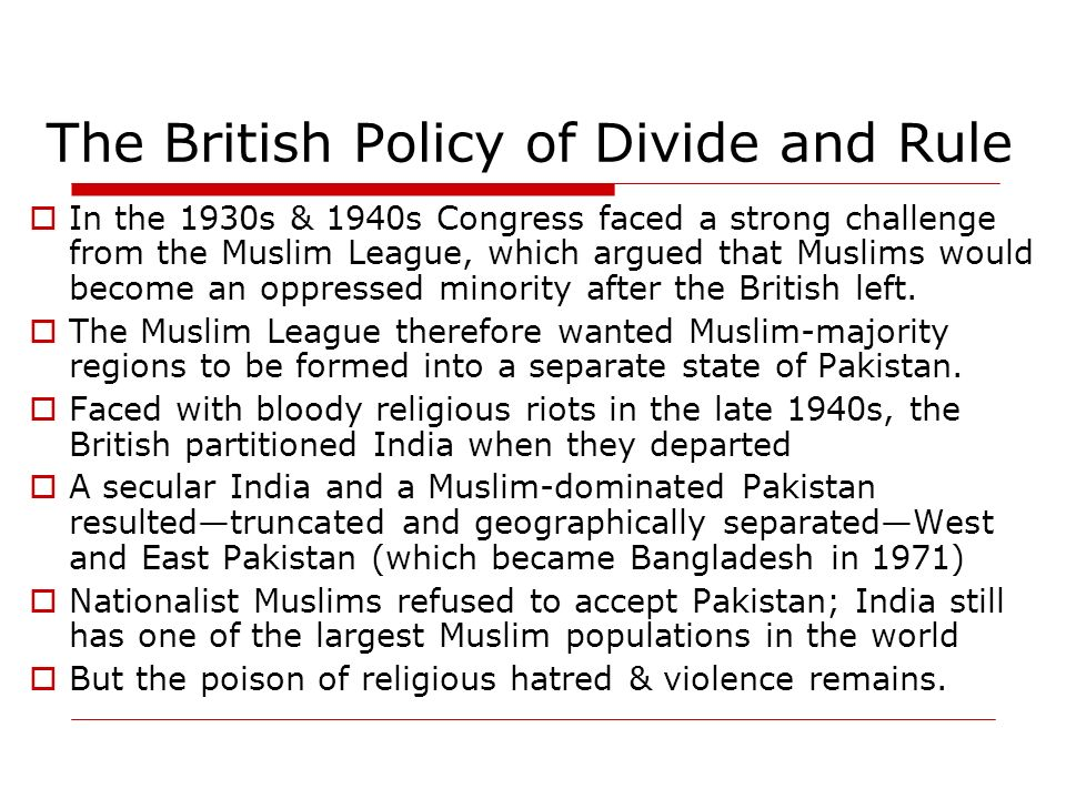 Image result for the british divide and rule policy