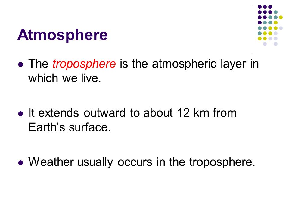 Atmosphere The troposphere is the atmospheric layer in which we live.