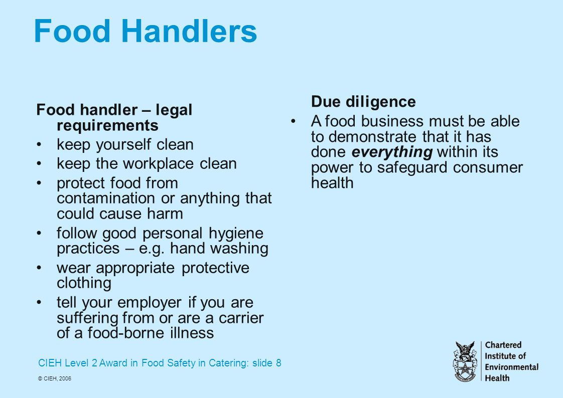 CIEH Level 2 Award in Food Safety in Catering Mrs. Dowling - ppt ...