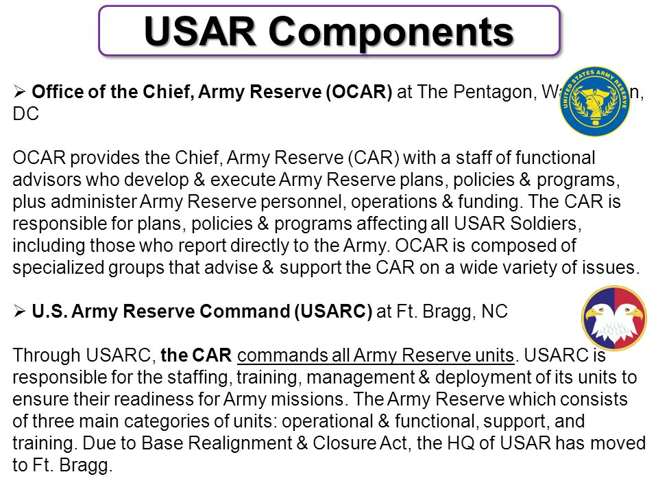 The U S  Army Reserve Components - ppt download
