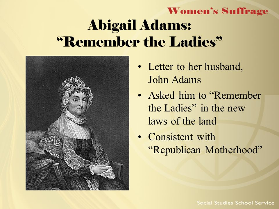Women s Suffrage To understand and appreciate the history of