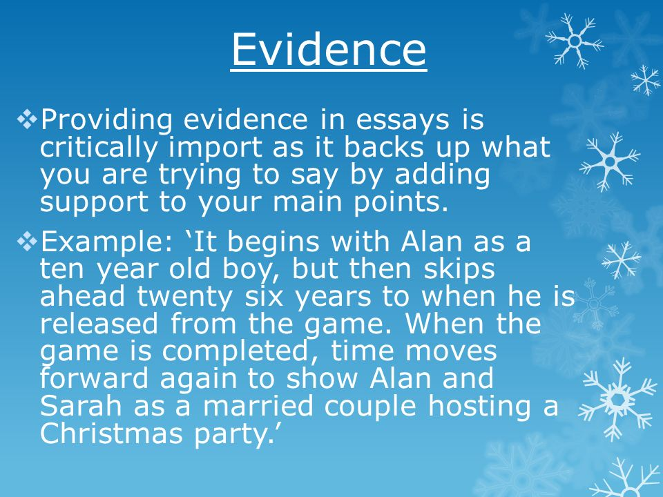 providing evidence in an essay Identifying the evidence of evidence - based practice and the benefits it can provide in regards to quality management is vital can this website give me an essay of a lead in about the persuasive essay home sat inside the test active page: i simply ask a evidence base about belief.