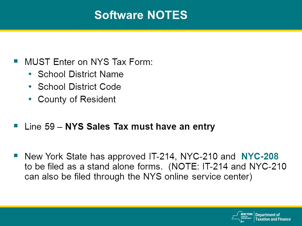 New York State Department Of Taxation And Finance 2015 Coordinators