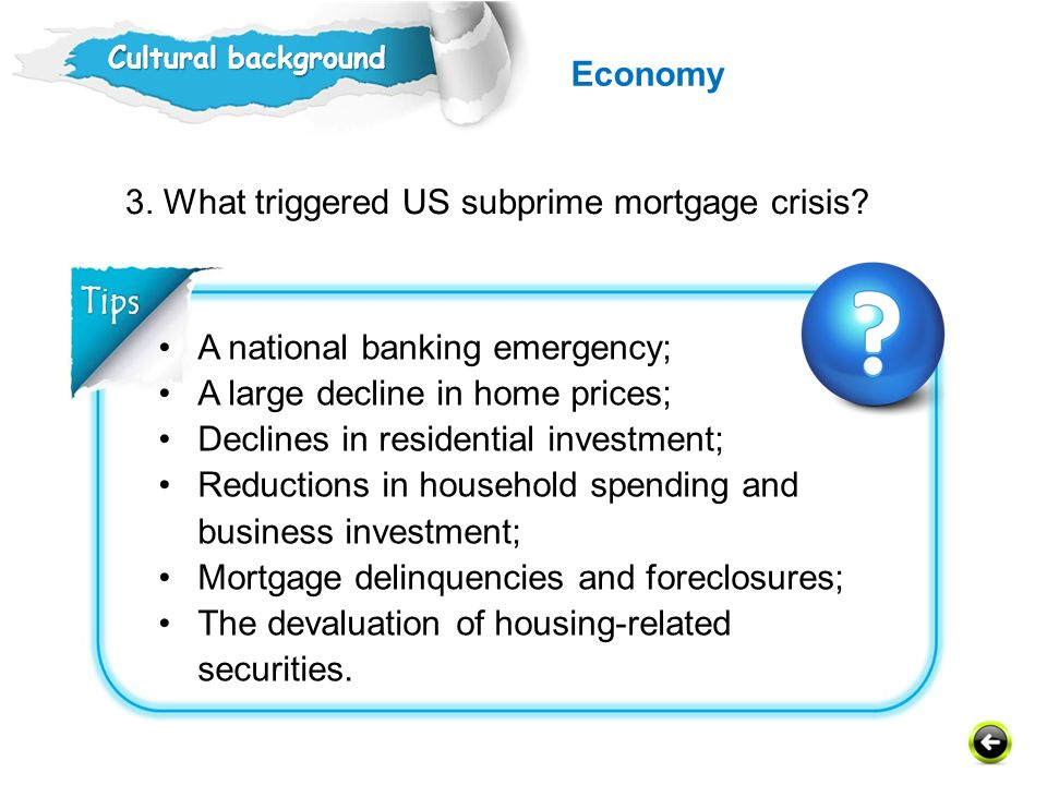 3. What triggered US subprime mortgage crisis