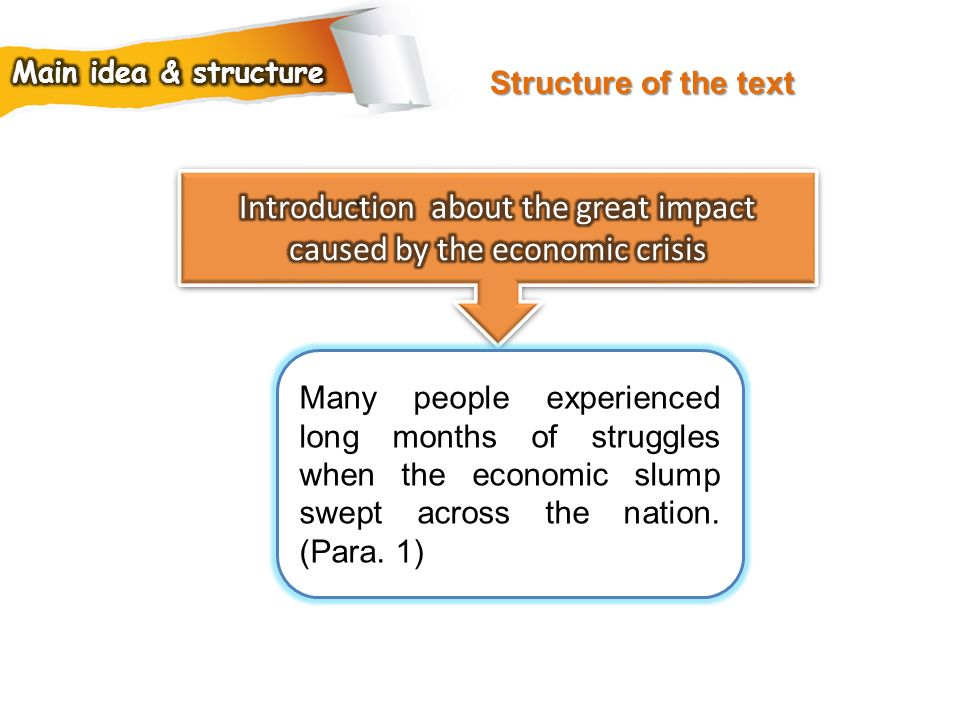 Introduction about the great impact caused by the economic crisis