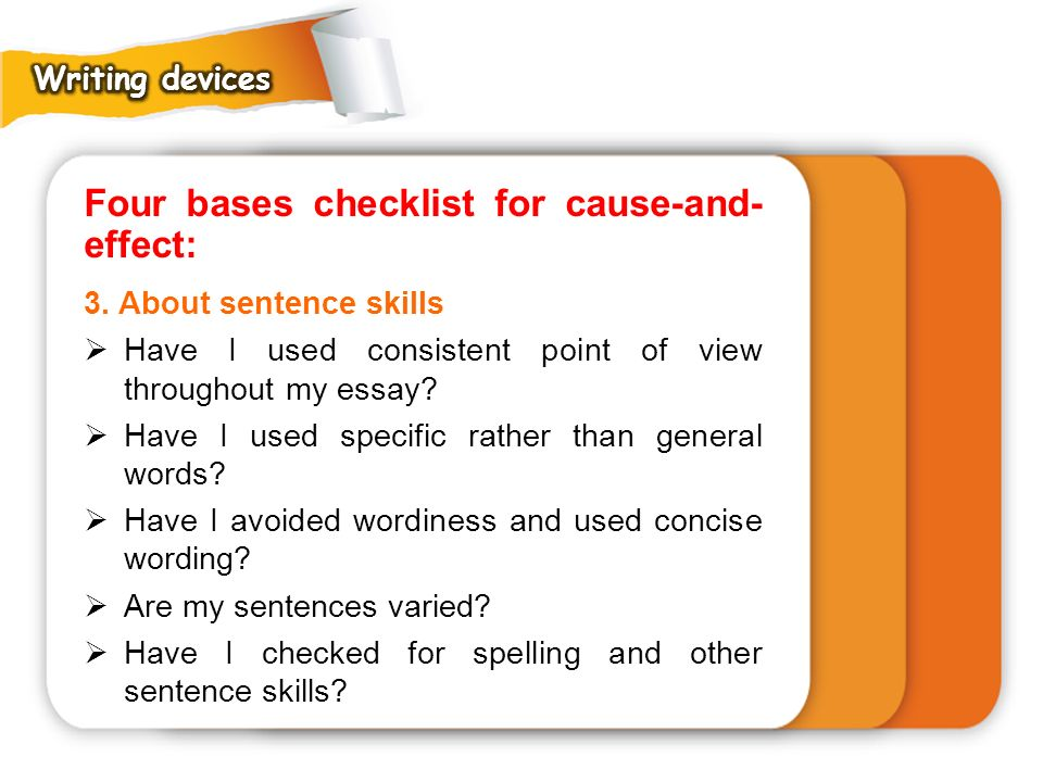 Four bases checklist for cause-and- effect: