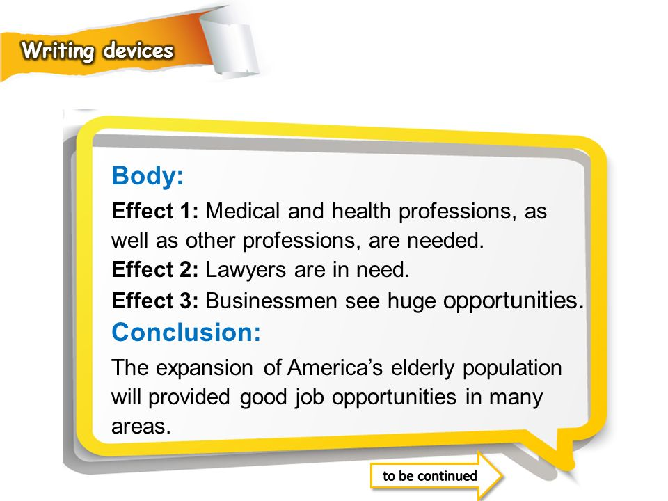 Writing devices Body: Effect 1: Medical and health professions, as well as other professions, are needed.