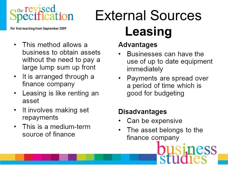 advantages of external sources of finance