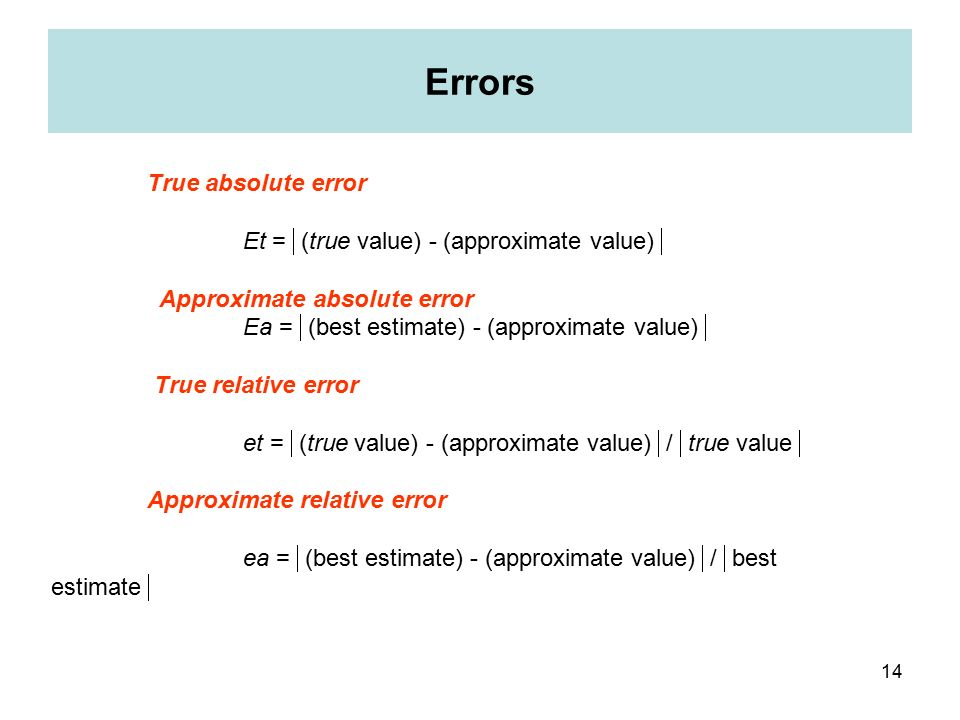 absolutely true relative error is defined as