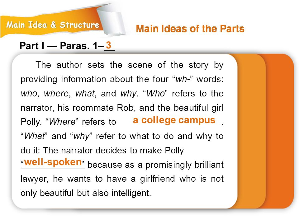 Part I — Paras. 1–__ 3 a college campus well-spoken