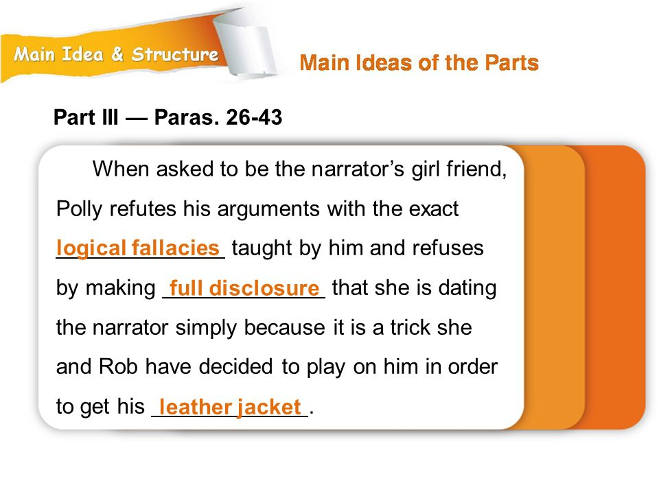 Part III — Paras. 26-43 When asked to be the narrator's girl friend, Polly refutes his arguments with the exact.