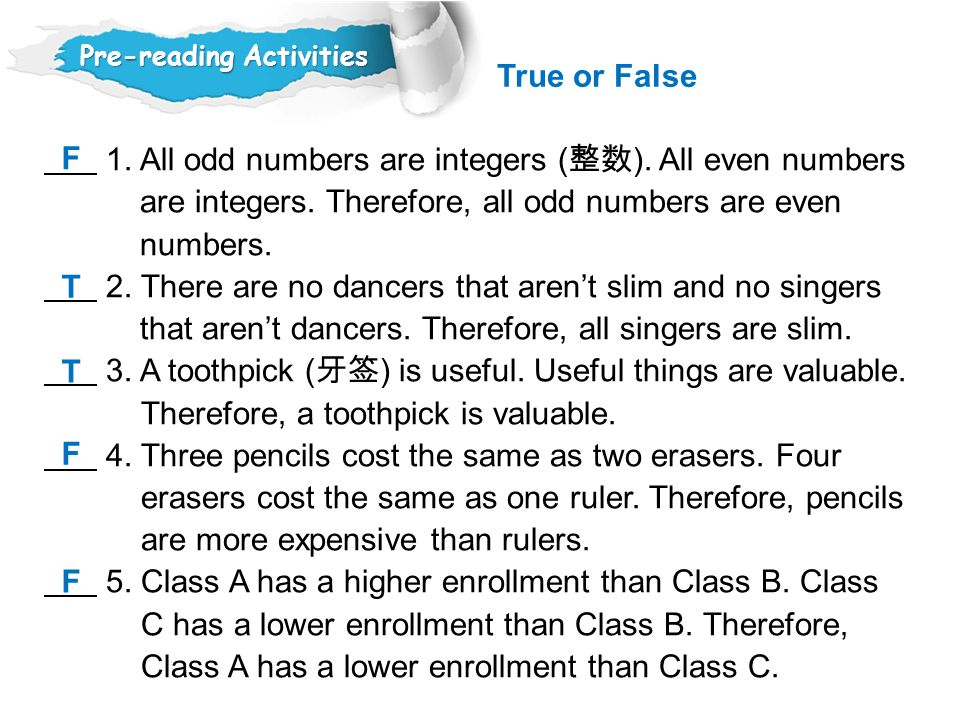 1. All odd numbers are integers (整数). All even numbers