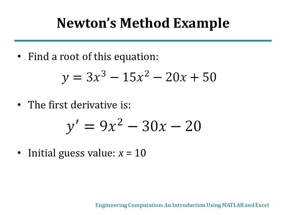 Newton's Method, Root Finding with MATLAB and Excel - ppt video
