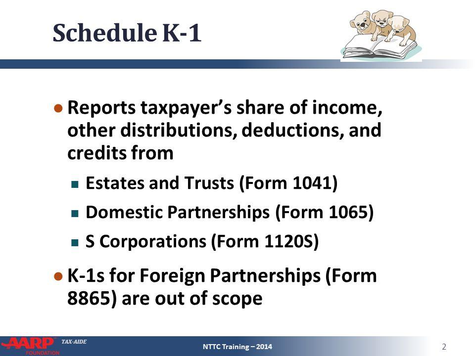Schedule K 1 Entire Lesson Pub 4491 Part 3 Nttc Training Ppt