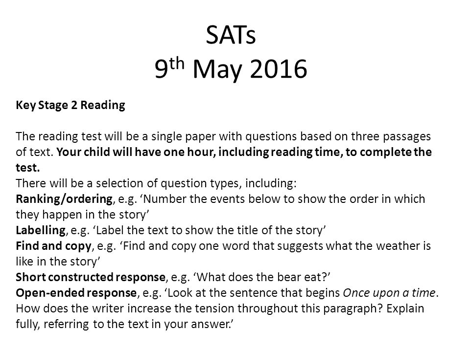 SATs 9th May 2016 Key Stage 2 Reading