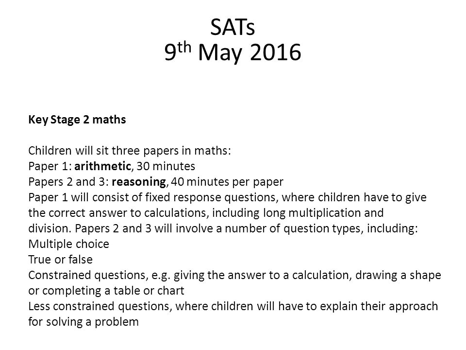 SATs 9th May 2016 Key Stage 2 maths
