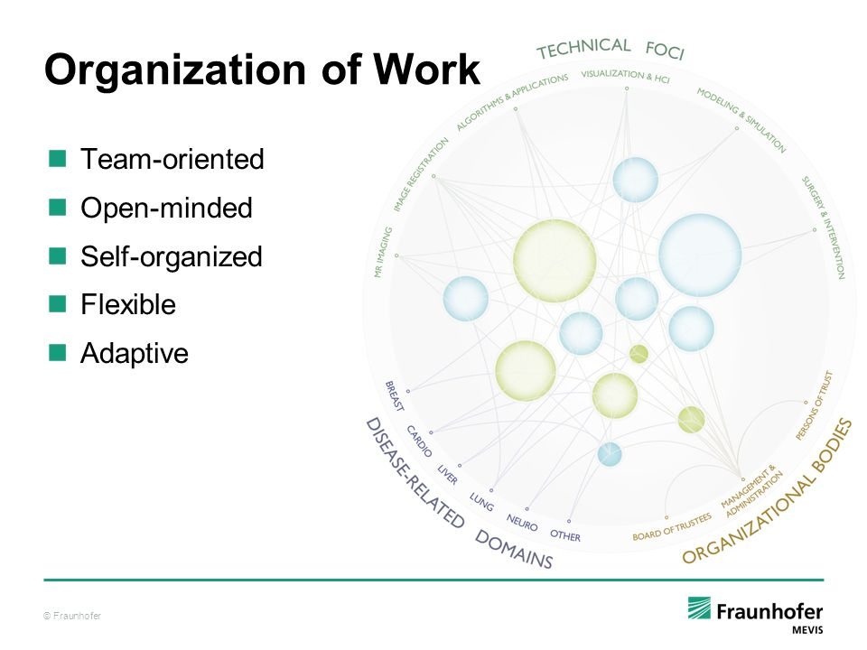 Organization of Work Team-oriented Open-minded Self-organized Flexible