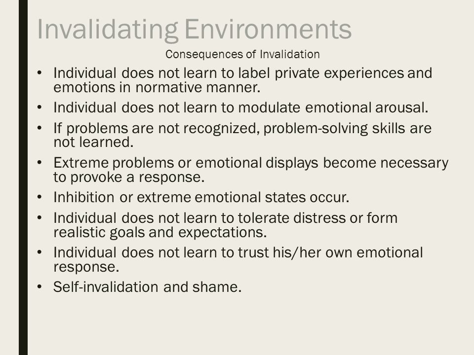 Invalidating environment
