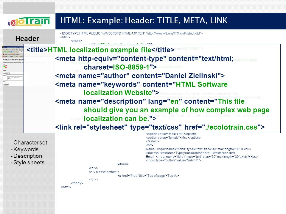 HTML: Example: Header: TITLE, META, LINK