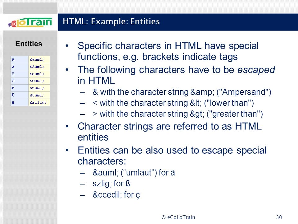 HTML: Example: Entities
