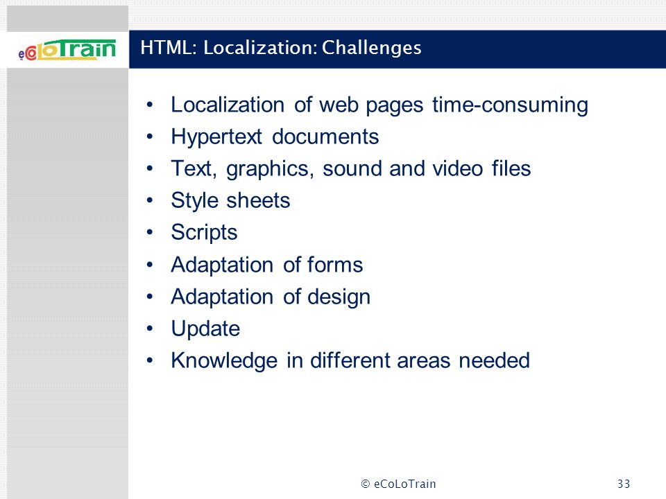 HTML: Localization: Challenges