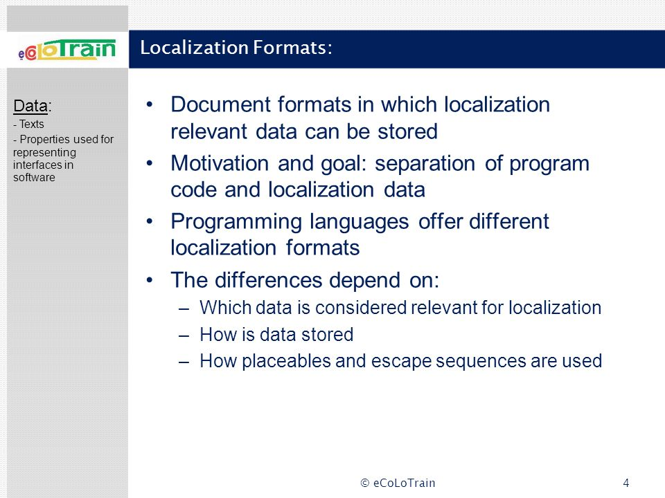 Localization Formats: