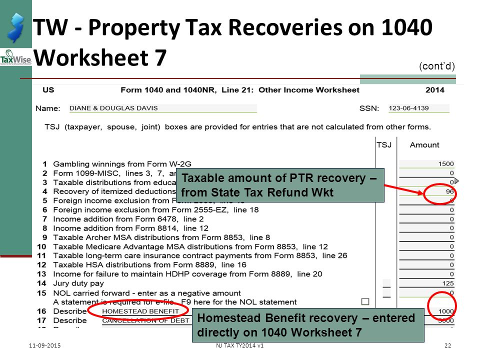 Property Tax Rebates Recoveries Ptr Homestead Benefit Ppt. Tw Property Tax Recoveries On 1040 Worksheet 7. Worksheet. 1040 Worksheet At Clickcart.co