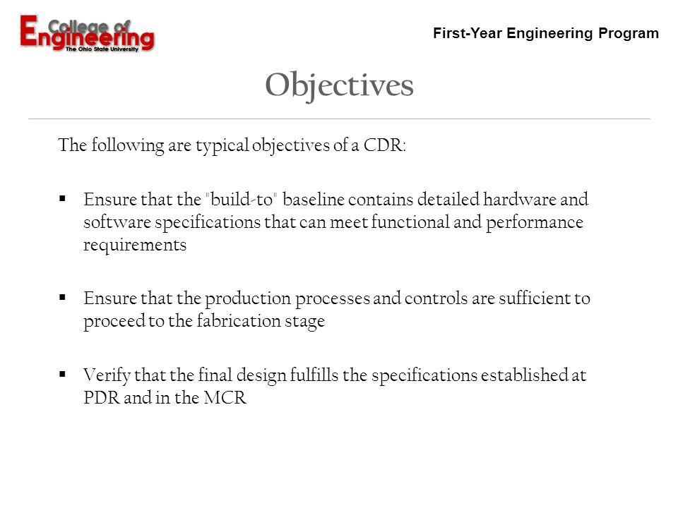 Critical Design Review Cdr Ppt Video Online Download
