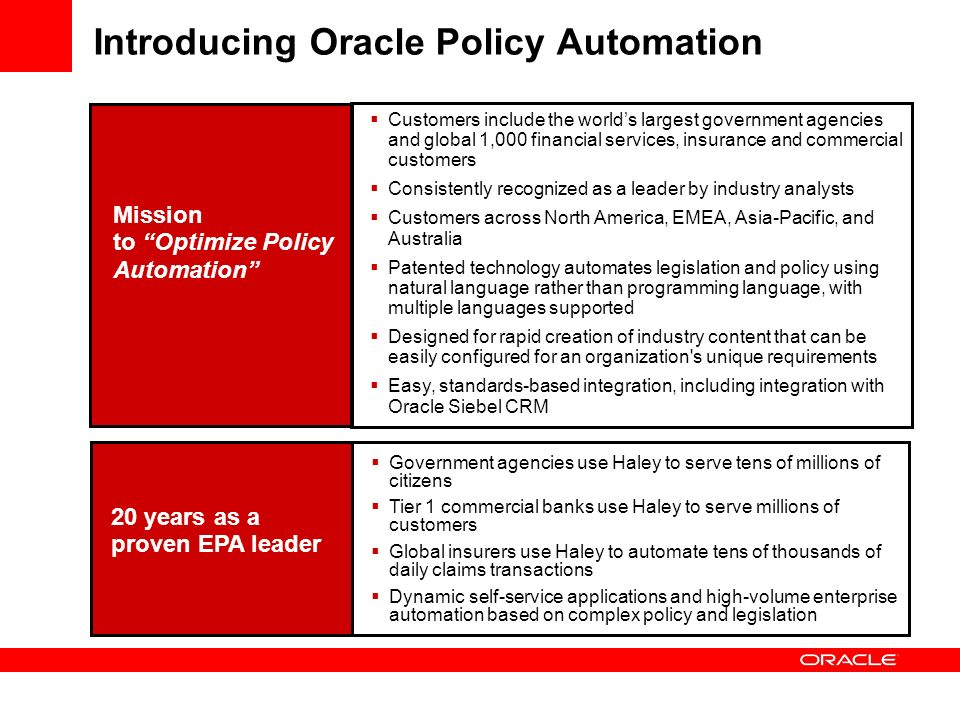 Oracle Policy Automation Introduction and Overview - ppt
