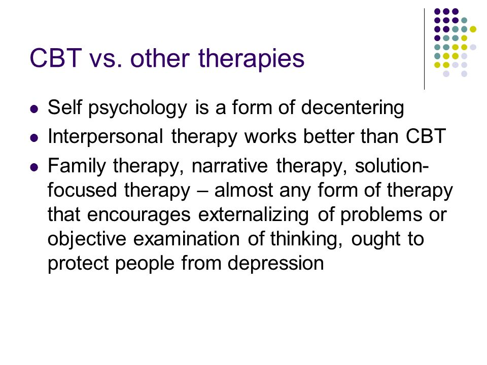 comparison between solution focused therapy and narrative therapy description of both theories Narrative therapy and collaborative therapy are widely considered two of the leaders in contemporary family therapy (monk & gehart, 2003) both firmly rooted in social constructionist thought, more similarities than differences exist between these models.