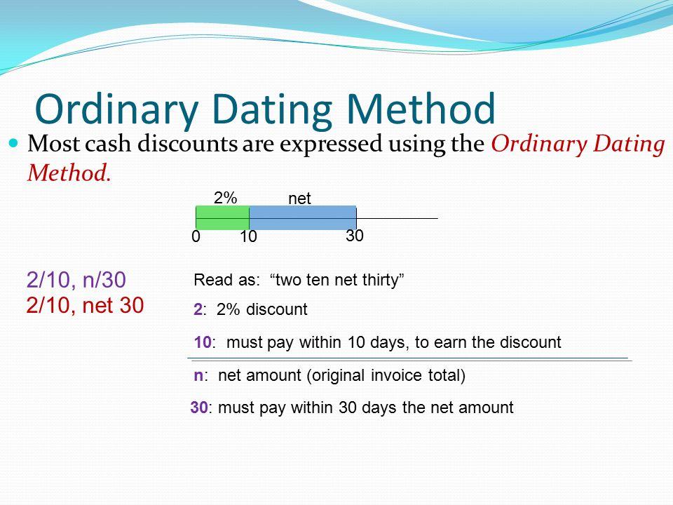 cash discounts ordinary dating methods