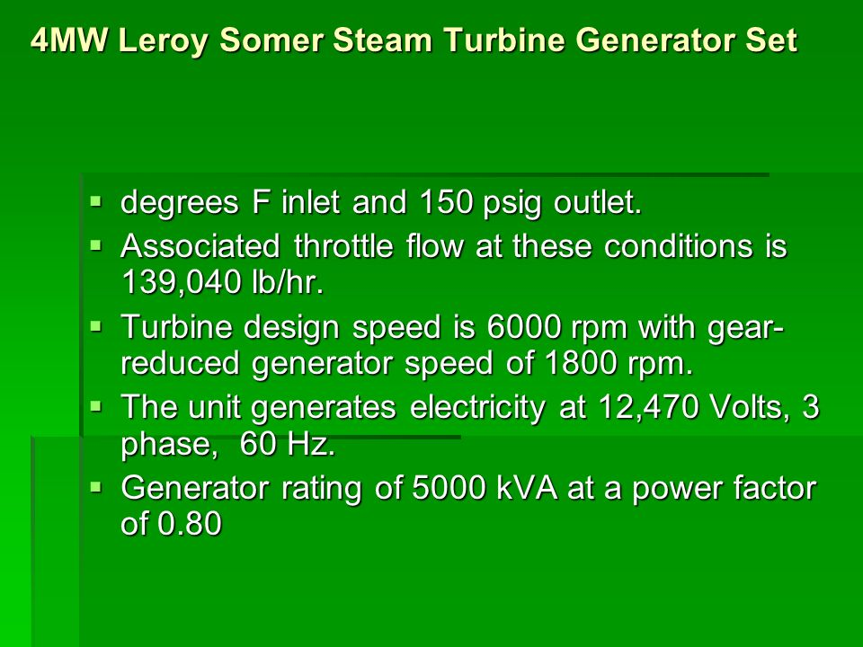 Generator Specification Used in Power Plants - ppt video online download