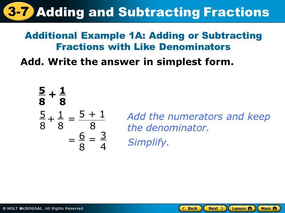 how to add and subtract like fractions