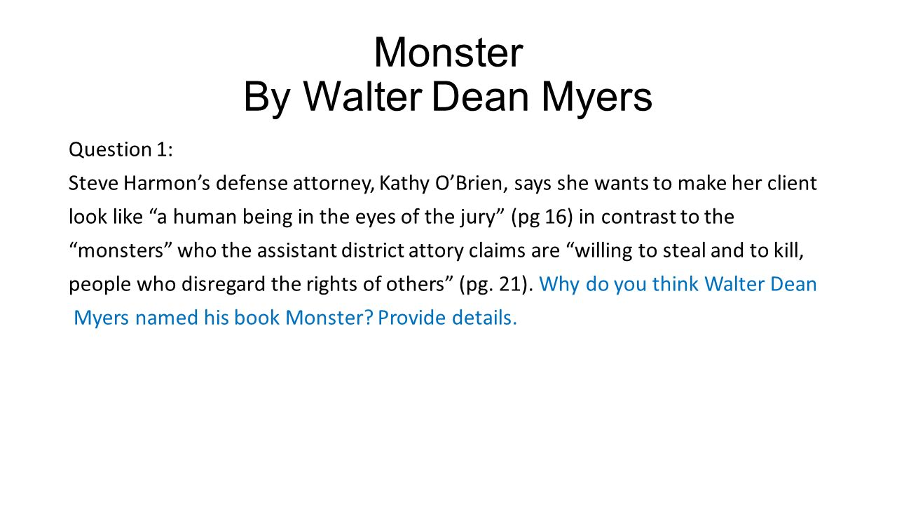 Monster By Walter Dean Myers - ppt video online download