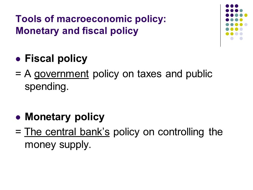 use of monetary policy and fiscal policy Fiscal policy versus monetary policy monetary policy is the process by which a nation changes the money supply the country's monetary authority increases it with expansionary monetary policy and decreases it with contractionary monetary policy.