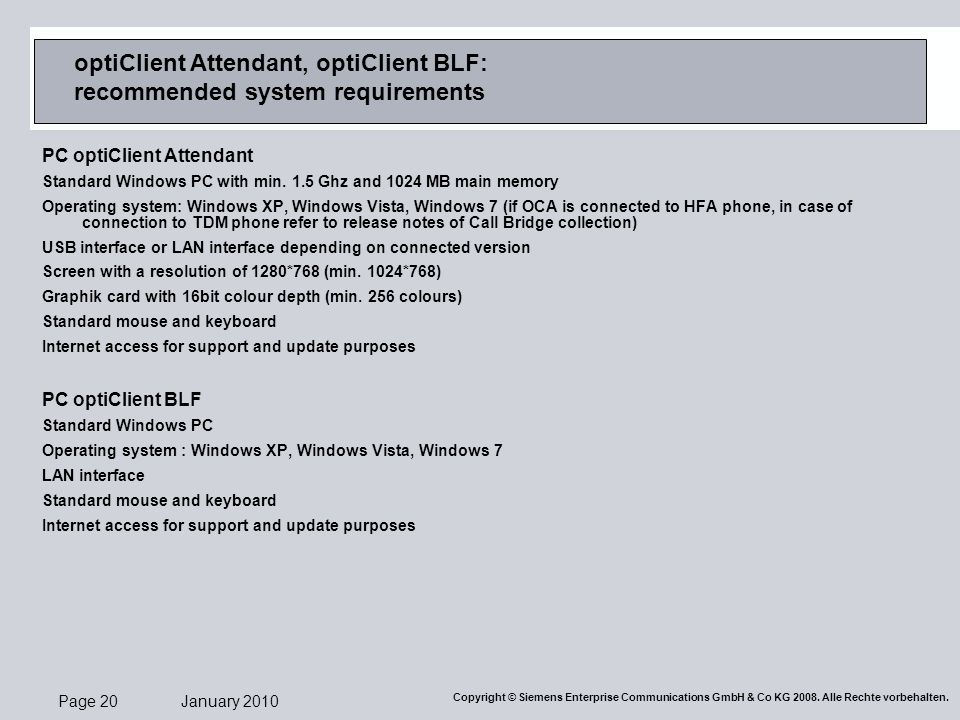 optiClient Attendant, optiClient BLF: recommended system requirements
