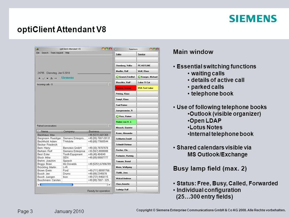 optiClient Attendant V8