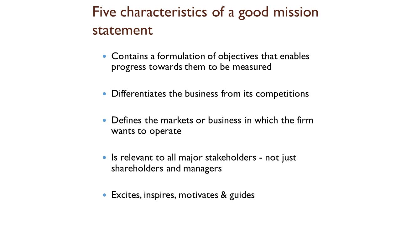 misson statement formulation Importance of vision and mission statements one of the first things that any observer of management thought and practice asks is whether a particular organization has a vision and mission statement in addition, one of the first things that one learns in a business school is the importance of vision and mission statements.