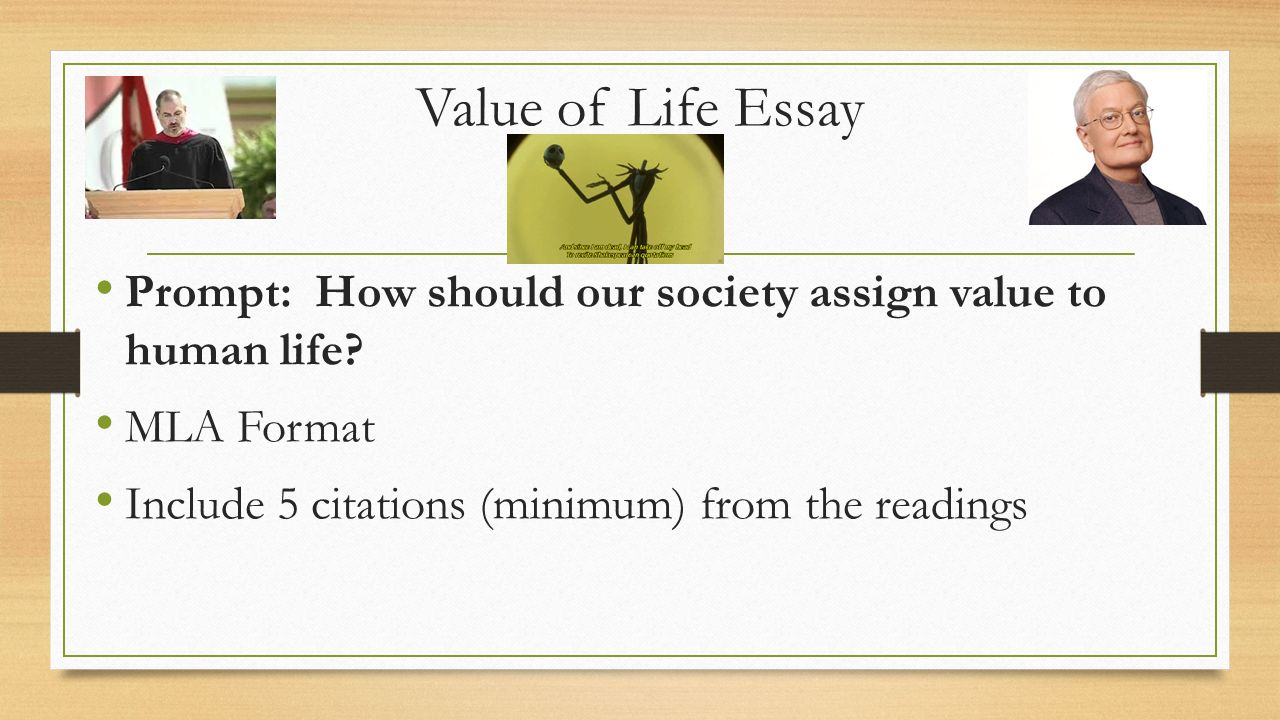 Computer Science Essay Topics  Value Of Life Essay  Argumentative Essay Sample High School also Thesis Statement Generator For Compare And Contrast Essay The Value Of Life Erwc Module  Ppt Video Online Download Sample Essay Papers