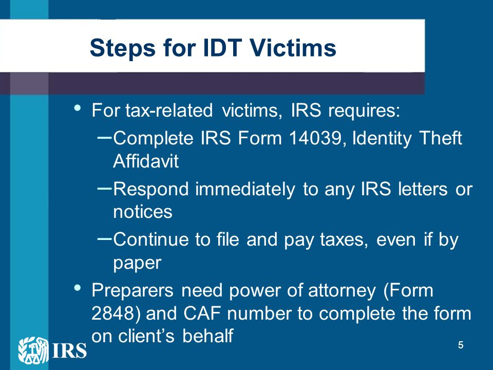 idverify irs gov letter 5071c preventing and detecting identity theft partnering with 22530 | Steps for IDT Victims For tax related victims%2C IRS requires%3A