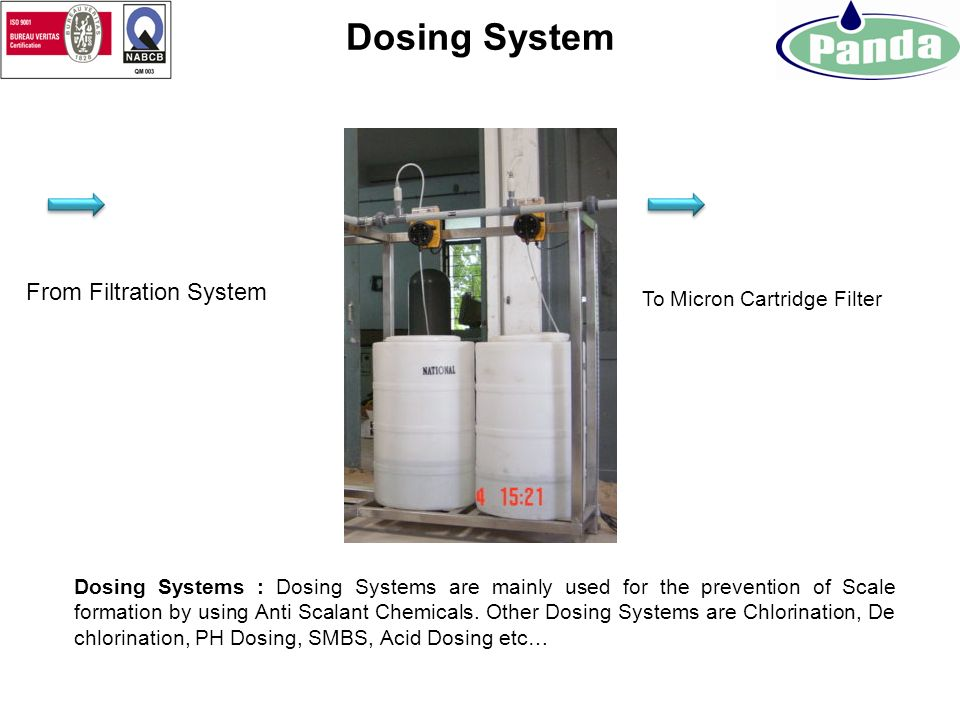Dosing System From Filtration System To Micron Cartridge Filter
