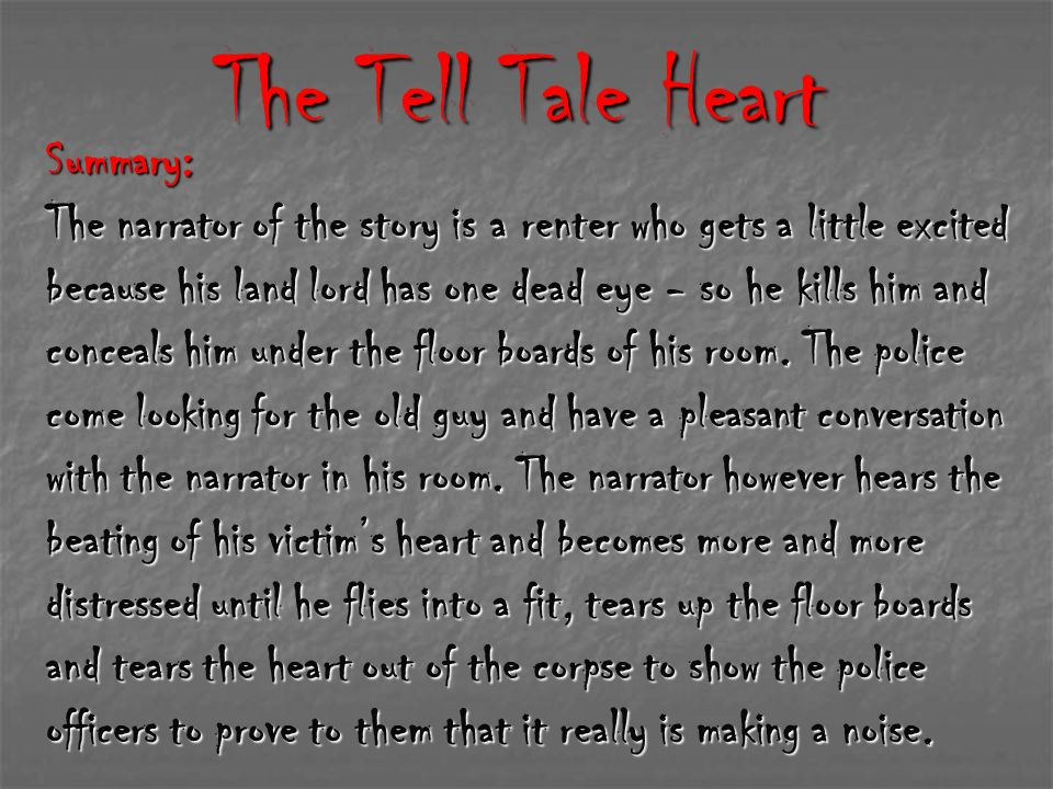 symbolism in the tell tale heart by Detailed summary & analysis manuscript found in a bottle ligeia the fall of the house of usher william wilson the murders in the rue-morgue the tell-tale heart the pit and the pendulum the black cat the purloined letter the masque of the red death the cask of amontillado.