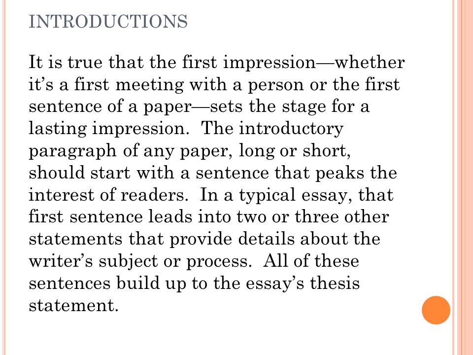 an introduction to the analysis of first impressions Your introduction and conclusion act as bridges that transport your readers from their own lives into the place of your analysis why bother writing a good introduction you never get a second chance to make a first impression the opening paragraph of your paper will provide your readers.