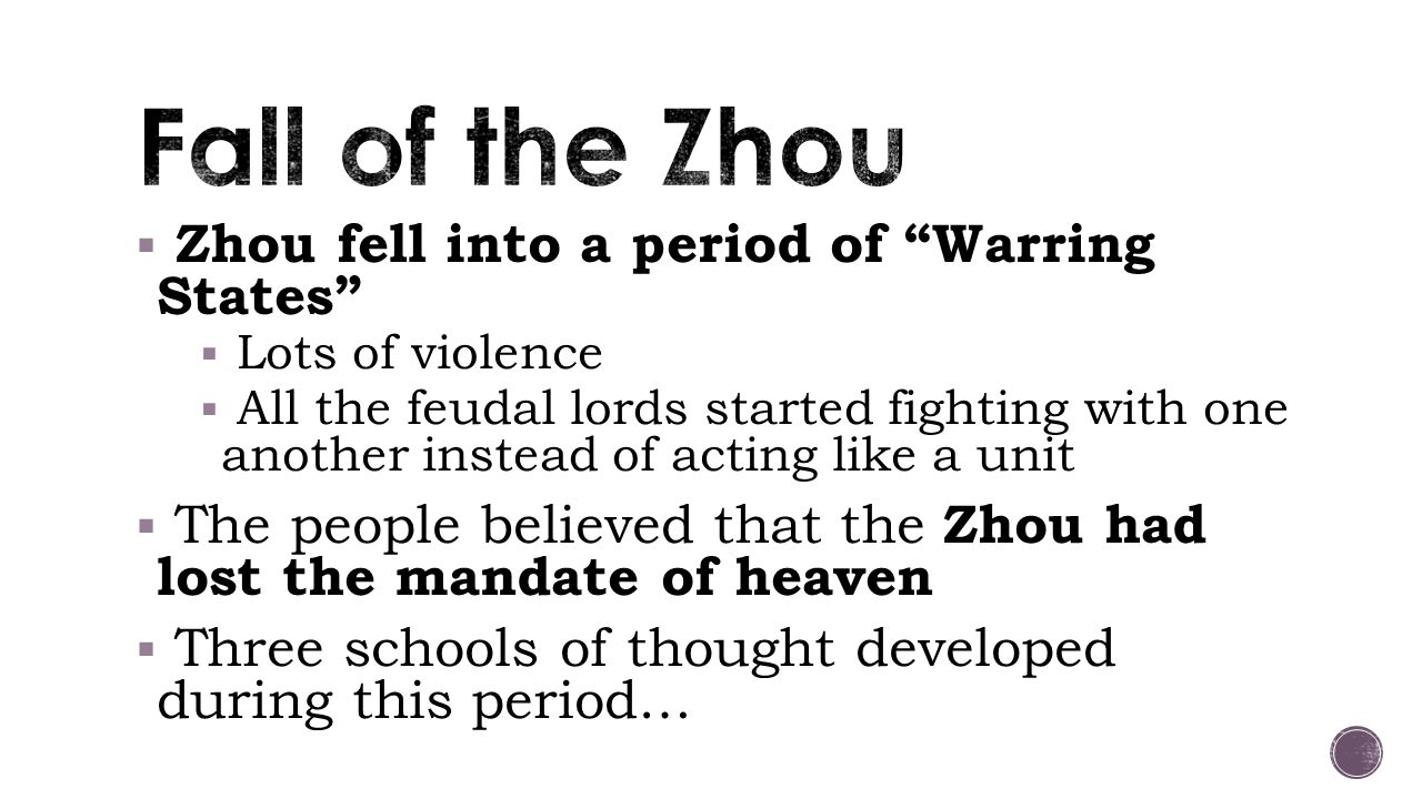 Fall of the Zhou Zhou fell into a period of Warring States