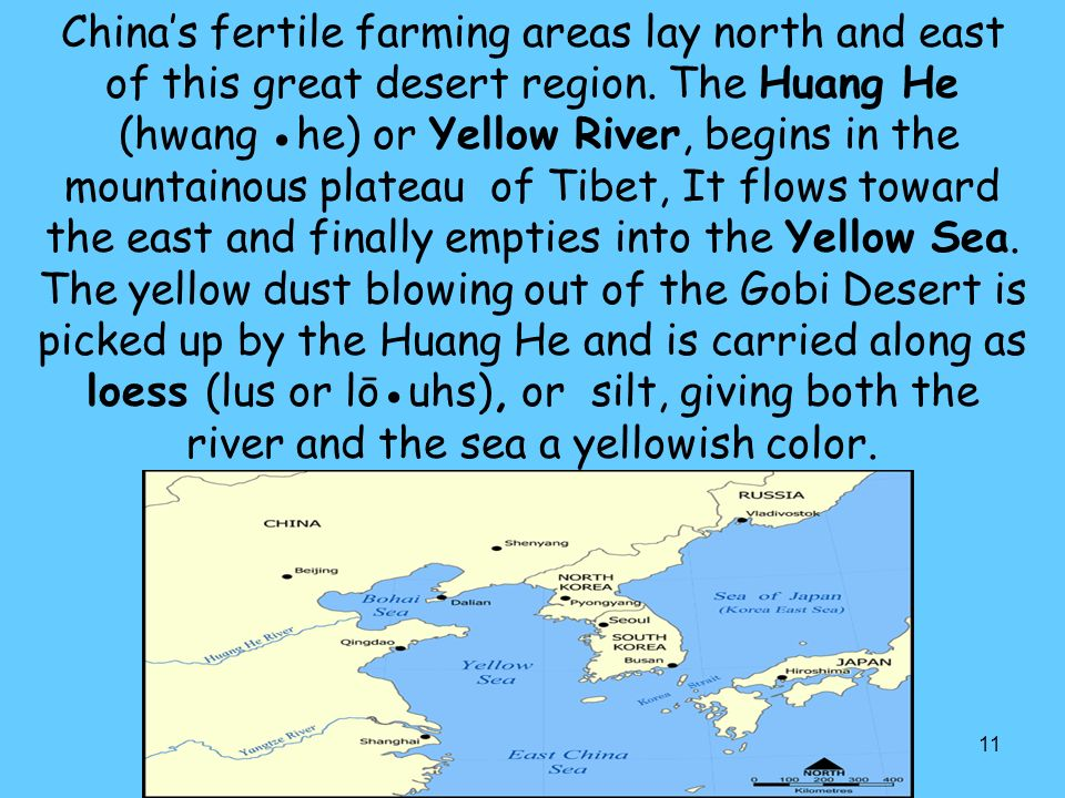 China's fertile farming areas lay north and east of this great desert region.
