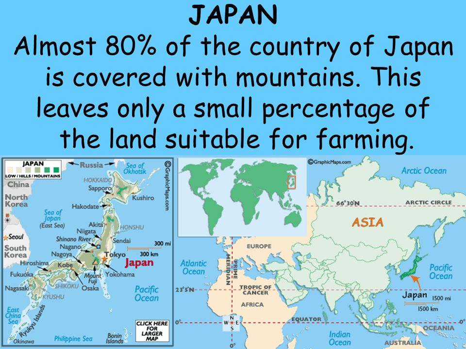 JAPAN Almost 80% of the country of Japan is covered with mountains