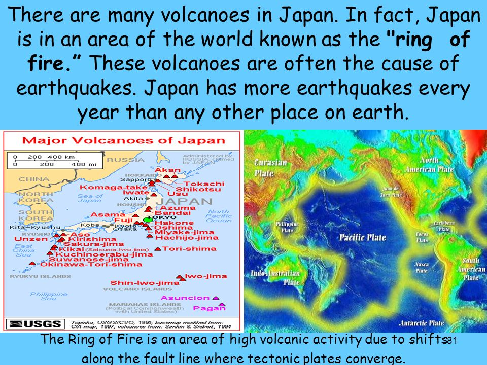 There are many volcanoes in Japan