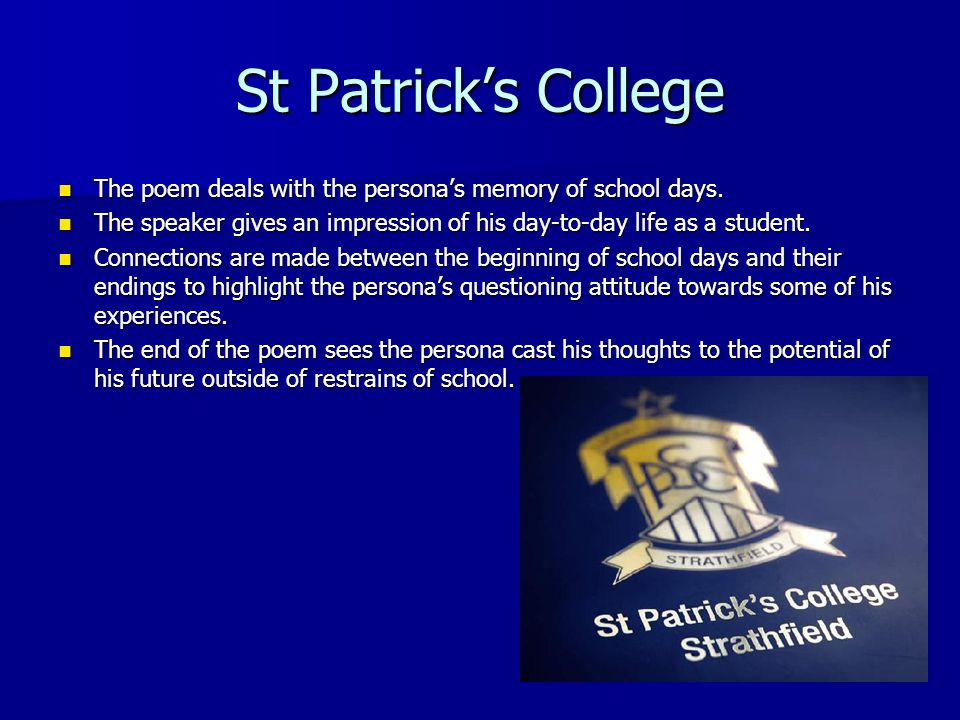 st patricks college poem
